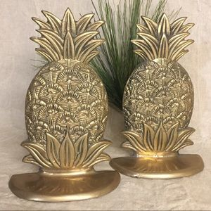 Classic Brass Pineapple Figural Bookends Set Of 2